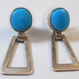 VTG Sterling Silver Turquoise Earrings Articulated